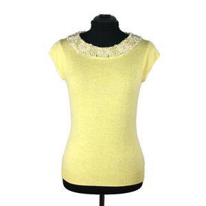 J Crew Yellow Cashmere Beaded Short Sleeve Sweater